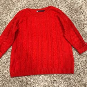 Red knit sweater with Gold button detail